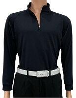 夏は半袖よりも長袖の方が涼しいAg+銀熱伝導放熱涼感ジップアップポロシャツ日本製メンズ(ブラック×襟ブラック)