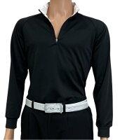 夏は半袖よりも長袖の方が涼しいAg+銀熱伝導放熱涼感ジップアップポロシャツ日本製メンズ(ブラック×襟ホワイト)