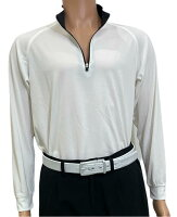 夏は半袖よりも長袖の方が涼しいAg+銀熱伝導放熱涼感ジップアップポロシャツ日本製メンズ(ホワイト×襟ブラック)