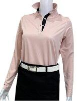 夏は半袖よりも長袖の方が涼しいAg+銀熱伝導放熱涼感ボタンプルオーバーシャツ日本製レディース(ピンク×襟ブラック)