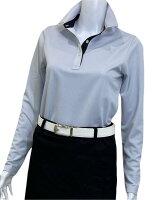夏は半袖よりも長袖の方が涼しいAg+銀熱伝導放熱涼感ボタンプルオーバーシャツ日本製レディース(ブルー×襟ブラック)