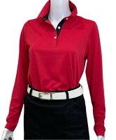 夏は半袖よりも長袖の方が涼しいAg+銀熱伝導放熱涼感ボタンプルオーバーシャツ日本製レディース(レッド×襟ブラック)