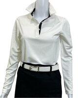 夏は半袖よりも長袖の方が涼しいAg+銀熱伝導放熱涼感ボタンプルオーバーシャツ日本製レディース(ホワイト×襟ブラック)