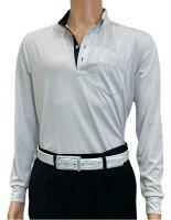 夏は半袖よりも長袖の方が涼しいAg+銀熱伝導放熱涼感ボタンプルオーバーシャツ日本製メンズ(グレー×襟ブラック)