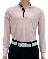 夏は半袖よりも長袖の方が涼しいAg+銀熱伝導放熱涼感ボタンプルオーバーシャツ日本製メンズ(ピンク×襟ブラック)