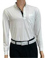 夏は半袖よりも長袖の方が涼しいAg+銀熱伝導放熱涼感ボタンプルオーバーシャツ日本製メンズ(ホワイト×襟ブラック)