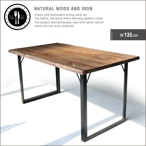 ダイニングテーブル 135 無垢 無垢材 アイアン 脚 ブラック 4人 4人掛け 4人用 幅135cm 135cm アンティーク 一枚板風 北欧 和風 モダン 和モダン 天然木 木製 カフェ風 おしゃれ セール