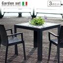 イタリア製 ガーデンテーブル 3点セット Juska ジャスカ   ガーデンテーブルセット ガーデンテーブル セット 軽量 軽い 庭 テラス バルコニー 完成品 チェア 肘付き スタッキング ラタン風