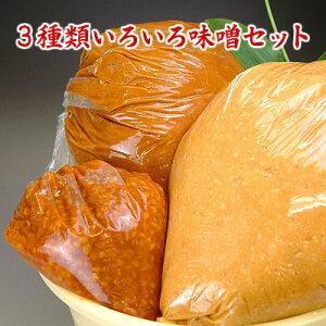 3種類いろいろ味噌セット 送料無料 信州こうじ味噌 仙台こし味噌 もろみ味噌