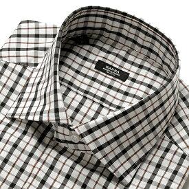 【ポイント10倍】バルバ BARBA / 【国内正規品】 19-20AW!コットンピンポイントオックスフォードチェックセミワイドカラーシャツ「MILANO」(ホワイト×ブラック×ブラウン)/ メンズ イタリア ナポリ ドレスシャツ ワイシャツ オールシーズン ビジネス