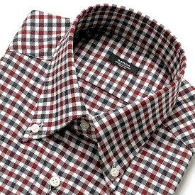 【ポイント10倍】バルバ BARBA / 【国内正規品】 19-20AW!コットンオックスフォードガンクラブチェックボタンダウンカラーシャツ「BRK」(ホワイト×グレー×ボルドー)/ メンズ イタリア ナポリ ドレスシャツ ワイシャツ オールシーズン ビジネス