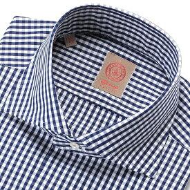 ジャンジ GIANGI / 19-20AW!コットン100番手双糸ポプリンギンガムチェックホリゾンタルワイドカラーシャツ「ROMA」(ネイビー×ホワイト)/ イタリア メンズ カジュアルシャツ ワイシャツ チェックシャツ オンオフ兼用