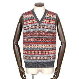 ジャミーソンズ Jamieson's / シェトランドウールフェアアイル柄Vネックニットベスト「MK176V」(625/11)/ 秋冬 メンズ イギリス スコットンランド セーター フェアアイル模様 草木染め