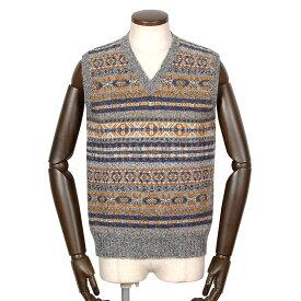 ジャミーソンズ Jamieson's / シェトランドウールフェアアイル柄Vネックニットベスト「MK176V」(625C/603)/ 秋冬 メンズ イギリス スコットンランド セーター フェアアイル模様 草木染め