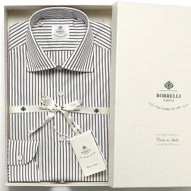 ルイジボレッリ ルイジボレリ LUIGI BORRELLI / 19-20AW!コットンポプリンストライプセミワイドカラーシャツ「LUCIANO(S8502)」(ホワイト×ブラウン)/ あす楽非対応 メンズ イタリア 手縫い ビジネス ワイシャツ ルチアーノ ストライプ