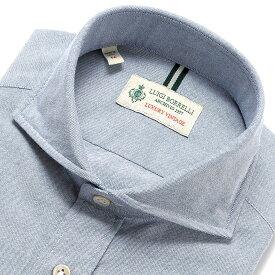【MORE SALE/返品・交換不可】ルイジボレッリ ルイジボレリ LUIGI BORRELLI / 19-20AW!製品洗いコットンオックスフォードホリゾンタルカラーシャツ「NA35(8654)」(ブルー) / あす楽非対応 メンズ ウォッシュ カジュアルシャツ 綿 無地