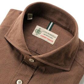 【SALE】ルイジボレッリ ルイジボレリ LUIGI BORRELLI / 製品洗いコットンシャンブレーホリゾンタルカラーシャツ「NA35(8726)」(ブリックブラウン) / あす楽非対応 メンズ ウォッシュ カジュアルシャツ 綿 無地