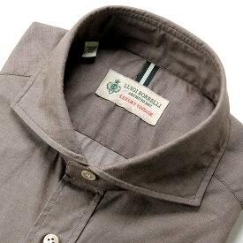 【MORE SALE/返品・交換不可】ルイジボレッリ ルイジボレリ LUIGI BORRELLI / 19-20AW!製品洗いコットンシャンブレーホリゾンタルカラーシャツ「NA35(8726)」(ブラウン) / あす楽非対応 メンズ カジュアルシャツ ウォッシュ 綿 無地