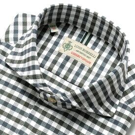 【MORE SALE/返品・交換不可】ルイジボレッリ ルイジボレリ LUIGI BORRELLI / 19-20AW!製品洗いコットンオックスフォードチェック柄ホリゾンタルカラーシャツ「NA35(8547)」(ホワイト×モスグリーン×ダークグレー) / あす楽非対応 メンズ