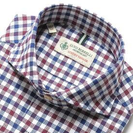 【MORE SALE/返品・交換不可】ルイジボレッリ ルイジボレリ LUIGI BORRELLI / 19-20AW!製品洗いコットンオックスフォードチェック柄ホリゾンタルカラーシャツ「NA35(8522)」(ホワイト×ボルドー×ブルーネイビー) / あす楽非対応 メンズ