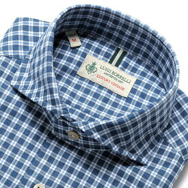 【SALE】ルイジボレッリ ルイジボレリ LUIGI BORRELLI / 製品洗いコットンライトフランネルチェックホリゾンタルカラーシャツ「NA35(8524)」(インディゴブルー×サックスブルー×ホワイト)/ あす楽非対応