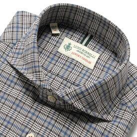 【SALE】ルイジボレッリ ルイジボレリ LUIGI BORRELLI / 製品洗いコットンジャカードグレンチェックオーバーペーンホリゾンタルカラーシャツ「NA35(8510)」(ダークネイビー×白×青×ブラウン)/ あす楽非対応