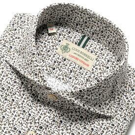 ルイジボレッリ ルイジボレリ LUIGI BORRELLI / 19-20AW!製品洗いコットンポプリン小花プリントホリゾンタルカラーシャツ「NA35(8573)」(ホワイト×グレーブラウン) / あす楽非対応 メンズ イタリア カジュアルシャツ ワイシャツ ウォッシュ