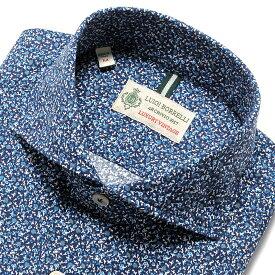 【ポイント10倍】ルイジボレッリ ルイジボレリ LUIGI BORRELLI / 19-20AW!製品洗いコットンポプリン小花プリントホリゾンタルカラーシャツ「NA35(8573)」(ネイビー×ブルー) / あす楽非対応 メンズ イタリア カジュアルシャツ ワイシャツ ウォッシュ