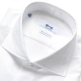 【ポイント10倍】【SALE/返品・交換不可】ジャンジ GIANGI / 20-21AW!コットン100番手双糸ツイルホリゾンタルワイドカラーシャツ「ROMA」(ホワイト)/ メンズ イタリア ドレスシャツ ビジネスシャツ ワイシャツ 無地 オールシーズン
