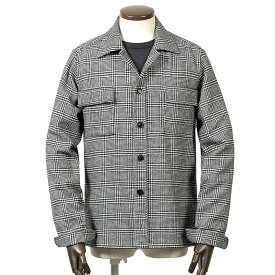 ギローバー GUY ROVER / 20-21AW!製品洗い四者混ライトツイードグレンチェックCPOシャツ「GR310J」(ブラック×ホワイト)/ 秋冬 メンズ イタリア シャツジャケット シャツアウター 英国柄