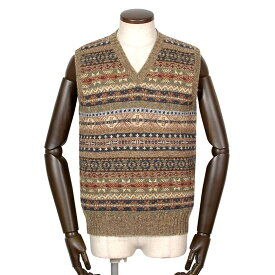 【ポイント10倍】ジャミーソンズ Jamieson's / シェトランドウールフェアアイル柄Vネックニットベスト「MK176V」(625C/604)/ 秋冬 メンズ イギリス スコットンランド セーター フェアアイル模様 草木染め