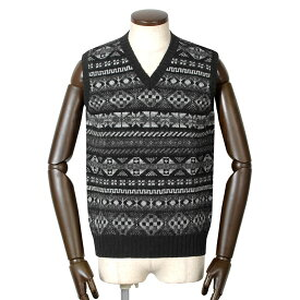 【ポイント10倍】ジャミーソンズ Jamieson's / シェトランドウールフェアアイル柄Vネックニットベスト「MK176V」(932/69)/ 秋冬 メンズ イギリス スコットンランド セーター フェアアイル模様 草木染め