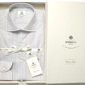 【SALE】ルイジボレッリ ルイジボレリ LUIGI BORRELLI / コットンツイルストライプセミワイドカラーシャツ「LUCIANO(30046)」(ホワイト×ライトブラウン×グレー×サックスブルー)/ あす楽非対応 メンズ ビジネス