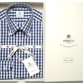 ルイジボレッリ ルイジボレリ LUIGI BORRELLI / 20-21AW!コットンナイロンストレッチポプリンチェックボタンダウンカラーシャツ「GABLE(30010)」(ホワイト×ネイビー)/ あす楽非対応 メンズ イタリア 手縫い ビジネス ワイシャツ