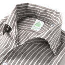 【ポイント10倍】 フィナモレ Finamore / 【国内正規品】 / 20SS!製品洗いリネンポプリンストライプイタリアンカラ…