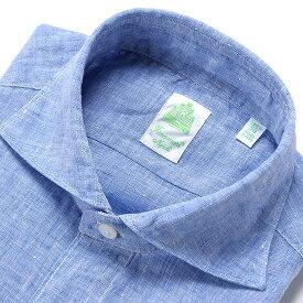 【ポイント10倍】 フィナモレ Finamore / 【国内正規品】 / 20SS!製品洗いリネンポプリンホリゾンタルカラーシャツ「SIMONE」(ブルー)/ 春夏 メンズ イタリア 麻シャツ リネンシャツ シモーネ ショート丈 無地