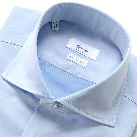 ジャンジ GIANGI / 20SS!コットン100番手双糸ツイルホリゾンタルワイドカラーシャツ「ROMA」(サックスブルー)/ メンズ イタリア ドレスシャツ ビジネスシャツ ワイシャツ 無地