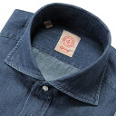 【SALE】ジャンジ GIANGI / 20SS!製品洗いコットンダンガリーホリゾンタルワイドカラーシャツ「ROMA」(インディゴ…