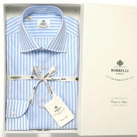 ルイジボレッリ ルイジボレリ LUIGI BORRELLI / 20SS!コットンポプリンストライプセミワイドカラーシャツ「LUCIANO(9011)」(ホワイト×サックスブルー)/ あす楽非対応 メンズ イタリア 手縫い ビジネス ワイシャツ ルチアーノ ストライプ