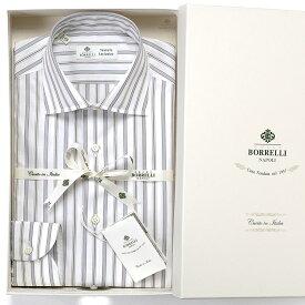 ルイジボレッリ ルイジボレリ LUIGI BORRELLI / 20SS!コットンポプリンストライプセミワイドカラーシャツ「LUCIANO(9396)」(ホワイト×ネイビー×ベージュ)/ あす楽非対応 メンズ イタリア 手縫い ビジネス ワイシャツ ルチアーノ