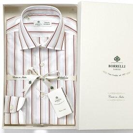 ルイジボレッリ ルイジボレリ LUIGI BORRELLI / 20SS!コットンポプリンストライプセミワイドカラーシャツ「LUCIANO(9398)」(ホワイト×ボルドー×ベージュ)/ あす楽非対応 メンズ イタリア 手縫い ビジネス ワイシャツ ルチアーノ
