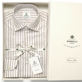 ルイジボレッリ ルイジボレリ LUIGI BORRELLI / 20SS!コットンスラブボイルストライプイタリアンカラーシャツ「NISIDA(9056)」(ホワイト×ベージュ)/ あす楽非対応 メンズ イタリア 手縫い ビジネス ワイシャツ ストライプ