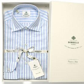 ルイジボレッリ ルイジボレリ LUIGI BORRELLI / 20SS!コットンスラブボイルストライプイタリアンカラーシャツ「NISIDA(9056)」(ホワイト×サックスブルー)/ あす楽非対応 メンズ イタリア 手縫い ビジネス ワイシャツ ストライプ