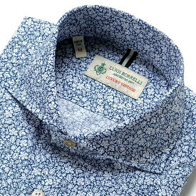 ルイジボレッリ ルイジボレリ LUIGI BORRELLI / 20SS!製品洗いコットンポプリン花柄プリントホリゾンタルカラーシャツ「NA35(9020)」(ネイビー×ホワイト)/ あす楽非対応 イタリア カジュアルシャツ メンズ 綿 花柄