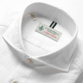【SALE】ルイジボレッリ ルイジボレリ LUIGI BORRELLI / 製品洗いリネンコットンジャカードホリゾンタルカラーシャツ「NA35(9030)」(ホワイト)/ あす楽非対応 イタリア カジュアルシャツ メンズ 綿 無地