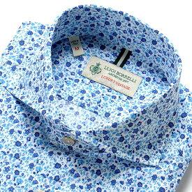 ルイジボレッリ ルイジボレリ LUIGI BORRELLI / 20SS!製品洗いコットンポプリン花柄プリントホリゾンタルカラーシャツ「NA35(9037)」(ホワイト×ブルー×ネイビー)/ あす楽非対応 イタリア カジュアルシャツ メンズ 綿 花柄