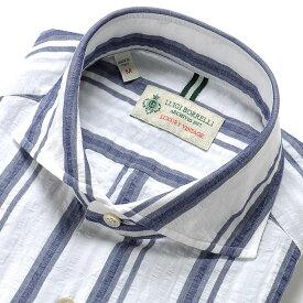 ルイジボレッリ ルイジボレリ LUIGI BORRELLI / 20SS!製品洗いコットンリネンシアサッカーストライプホリゾンタルカラーシャツ「NA35(9040)」(ホワイト×ネイビー)/ あす楽非対応 イタリア カジュアルシャツ メンズ 麻 ストライプ