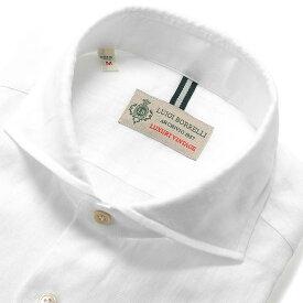ルイジボレッリ ルイジボレリ LUIGI BORRELLI / 20SS!製品洗いリネンポプリン無地ホリゾンタルカラーシャツ「NA35(9129)」(ホワイト)/ あす楽非対応 イタリア カジュアルシャツ メンズ 麻 無地