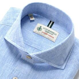 ルイジボレッリ ルイジボレリ LUIGI BORRELLI / 20SS!製品洗いリネンポプリン無地ホリゾンタルカラーシャツ「NA35(9129)」(サックスブルー)/ あす楽非対応 イタリア カジュアルシャツ メンズ 麻 無地