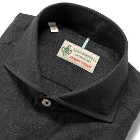 ルイジボレッリ ルイジボレリ LUIGI BORRELLI / 20SS!製品洗いリネンポプリン無地ホリゾンタルカラーシャツ「NA35(9130)」(ブラック)/ あす楽非対応 イタリア カジュアルシャツ メンズ 麻 無地